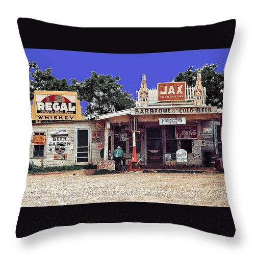 Crossroads Store Bar Juke Joint And Gas Station Fsa Marion Post Wolcott Melrose Louisiana Throw Pillow featuring the photograph Crossroads Store Bar Juke Joint And Gas Station Fsa Marion Post Wolcott Melrose Louisiana by David Lee Guss
