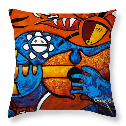 Puerto Rico Throw Pillow featuring the painting Cuatro En Grande by Oscar Ortiz
