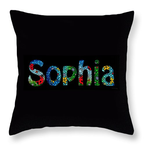 Baby Names Throw Pillow featuring the painting Customized Baby Kids Adults Pets Names - Sophia Name by Sharon Cummings