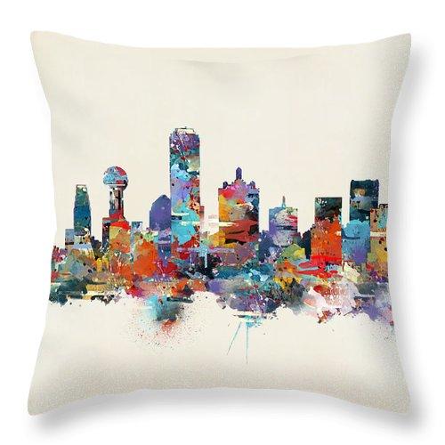 Dallas City Skyline Throw Pillow featuring the painting Dallas Texas Skyline by Bri Buckley