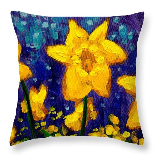 Acrylic Throw Pillow featuring the painting Dancing Daffodils Cropped by John Nolan