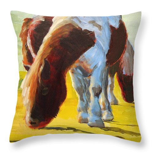 Pony Throw Pillow featuring the painting Dartmoor Ponies Painting by Mike Jory
