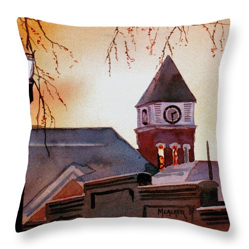 Sunrise Throw Pillow featuring the painting Dawn's Early Light by Spencer Meagher