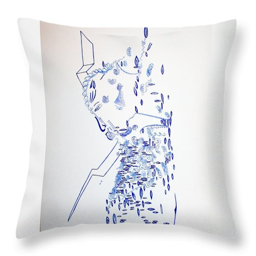Jesus Throw Pillow featuring the drawing Deity - Nhialic - South Sudan by Gloria Ssali
