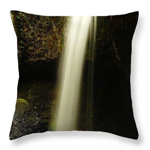 Waterfalls. Water Throw Pillow featuring the photograph Devil Creek Falls by Jeff Swan