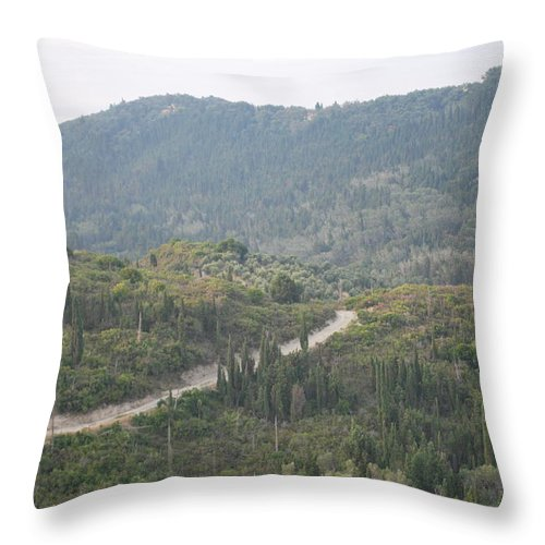 Land Scape Throw Pillow featuring the photograph Dirt Roads 2 by George Katechis