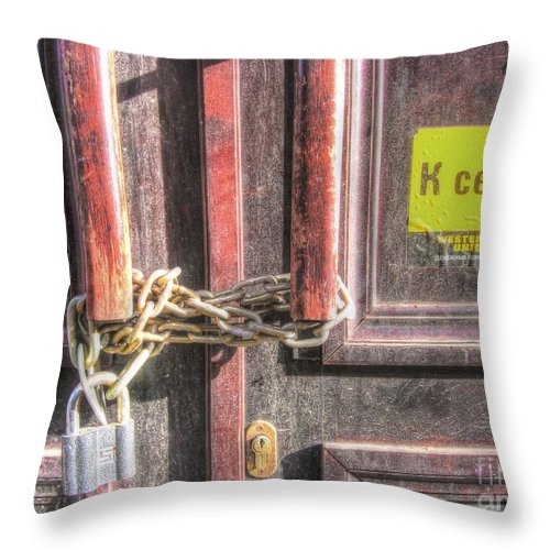Throw Pillow featuring the pyrography Door by Yury Bashkin