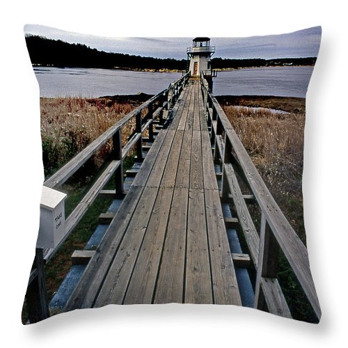 Lighthouses Throw Pillow featuring the photograph Doubling Point Lighthouse by Skip Willits