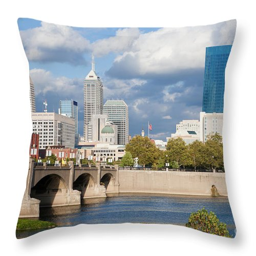 Downtown Throw Pillow featuring the photograph Downtown Indianapolis Indiana by Anthony Totah