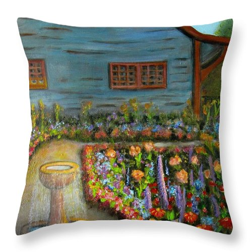 Garden Throw Pillow featuring the painting Dream Garden by Laurie Morgan