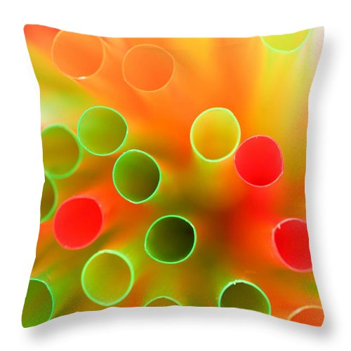 Background Throw Pillow featuring the photograph Drinking Straws by Viktor Pravdica