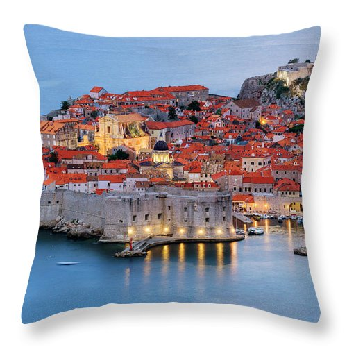 Scenics Throw Pillow featuring the photograph Dubrovnik City Skyline At Dawn by Pixelchrome Inc