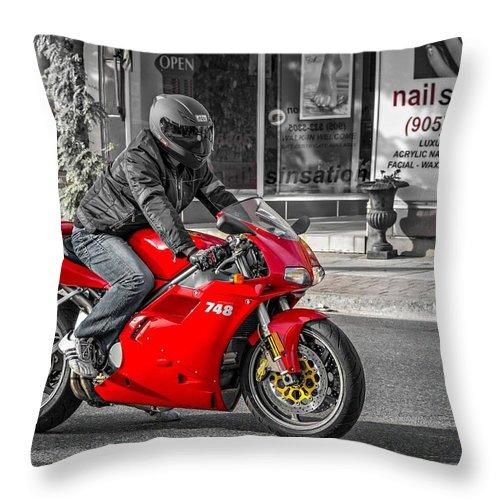 Bolton Throw Pillow featuring the photograph Ducati 748 by Steve Harrington