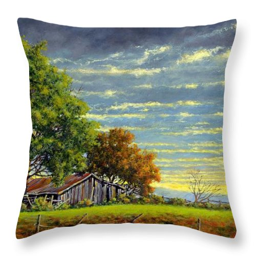 Landscape Throw Pillow featuring the painting Dusk by Jim Gola