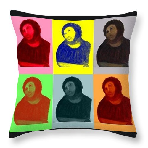 Art Throw Pillow featuring the mixed media Ecce Homo - Warhol Style by Sam Mart