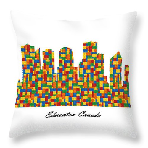 Fine Art Throw Pillow featuring the digital art Edmonton Canada Building Blocks Skyline by Gregory Murray