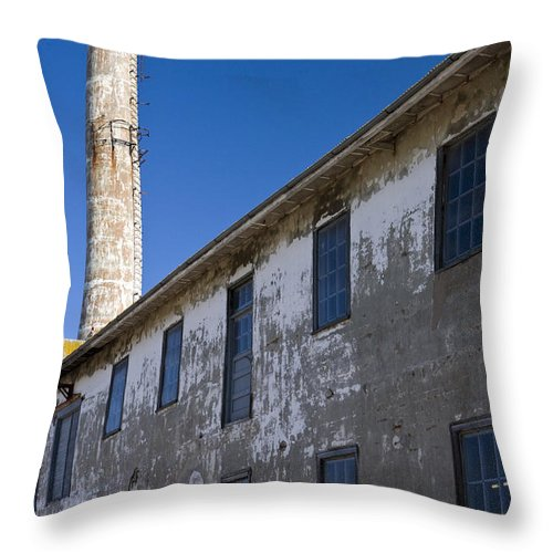 United States Of America Throw Pillow featuring the photograph Electrical Repair Shop Alcatraz Island by Jason O Watson