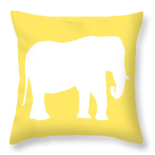 Graphic Art Throw Pillow featuring the digital art Elephant In Yellow And White by Jackie Farnsworth