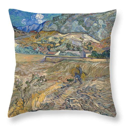 Vincent Van Gogh Throw Pillow featuring the painting Enclosed Wheat Field With Peasant by Vincent van Gogh
