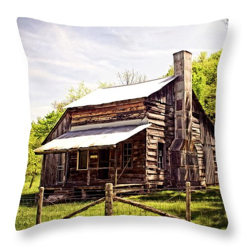 Log Cabin Throw Pillow featuring the photograph Erbie Homestead by Marty Koch