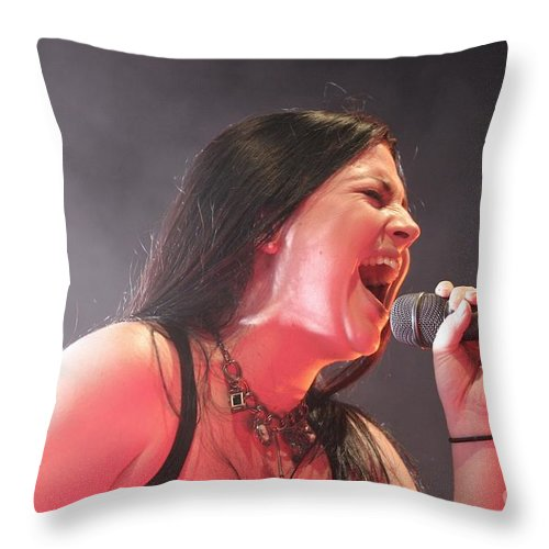 Grammy-winning Throw Pillow featuring the photograph Evanescence 1 by Concert Photos