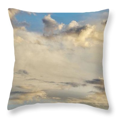 Evening Sky; Clouds; Sunset; Late; Blue; White; Light; Background; Throw Pillow featuring the photograph Evening Sky by Werner Lehmann