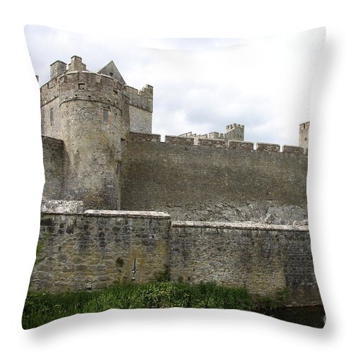 Cahir Castle Throw Pillow featuring the photograph Exterior Of Cahir Castle by Christiane Schulze Art And Photography