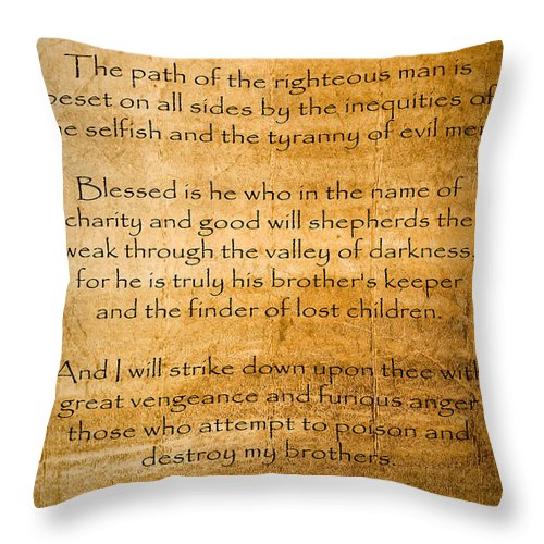 Ezekial 25:17 Throw Pillow featuring the painting Ezekial 25 17 by Roz Abellera