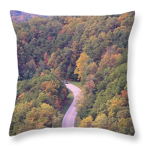Fall Drive In The Smokies Throw Pillow featuring the photograph Fall Drive In The Smokies by Dan Sproul