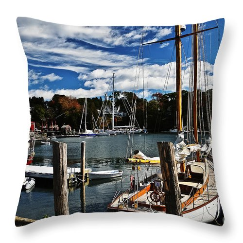 Travel Throw Pillow featuring the photograph Fall In The Harbor by Elvis Vaughn