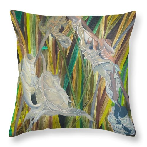 Throw Pillow featuring the painting Fall Leafs Won by Richard Dotson
