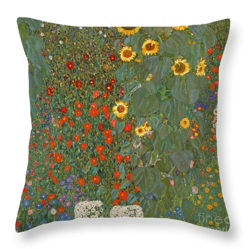 Klimt Throw Pillow featuring the painting Farm Garden with Sunflowers by Gustav Klimt