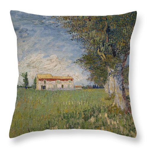 1888 Throw Pillow featuring the painting Farmhouse In A Wheat Field by Vincent van Gogh