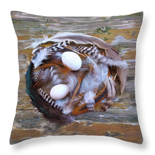 Poultry Throw Pillow featuring the digital art 1. Feather wreath EXAMPLE by Sigrid Van Dort