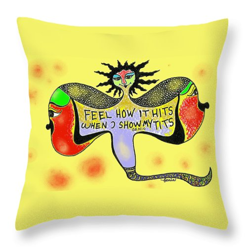 Genia Throw Pillow featuring the drawing Feel How It Hits When I Show My Tits by Genia GgXpress