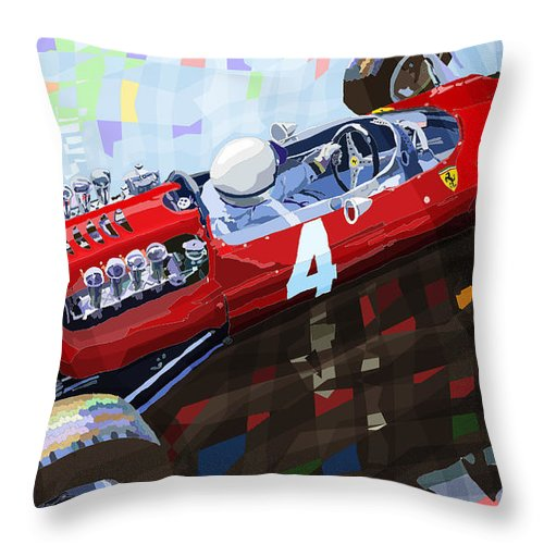 Automotive Throw Pillow featuring the mixed media 1965 British Grand Prix Silverstone Lorenzo Bandini Ferrari 158 by Yuriy Shevchuk