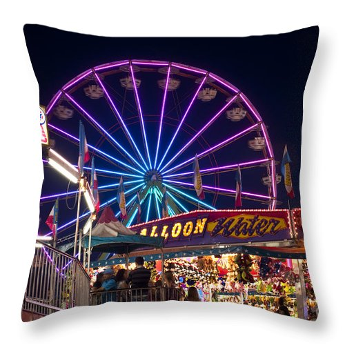 Americana Throw Pillow featuring the photograph Ferris Wheel Rides And Games by Jim Corwin