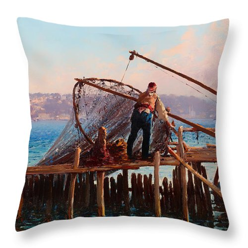 Painting Throw Pillow featuring the painting Fishermen Bringing In The Catch by Mountain Dreams