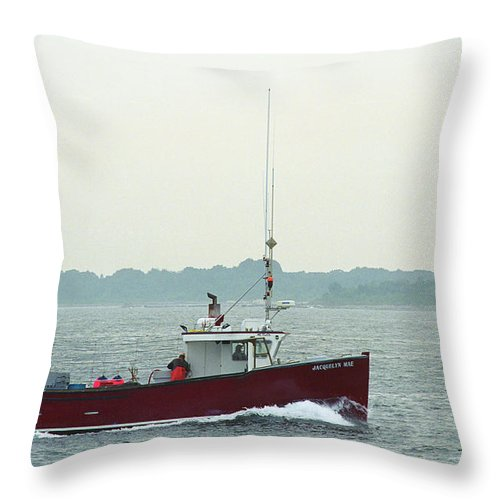 Adventure Throw Pillow featuring the photograph Fishing Boat - Portland Maine by Frank Romeo