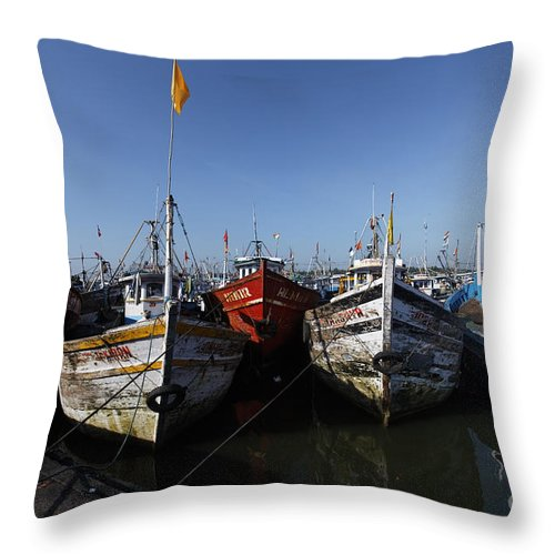 Boat Throw Pillow featuring the photograph Fishing Boats by Milind Ketkar