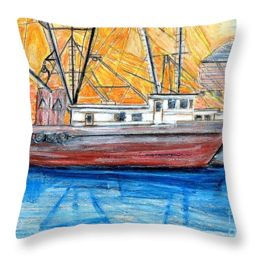 Fishing Throw Pillow featuring the drawing Fishing Trawler by Eric Schiabor