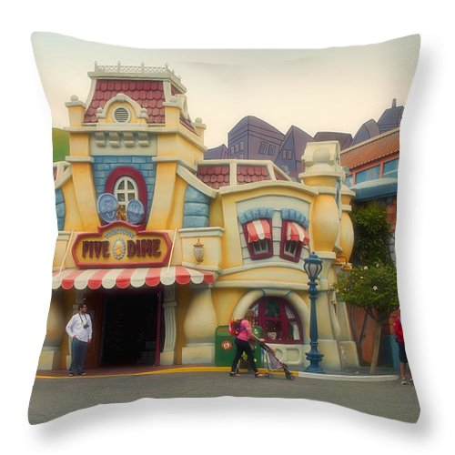 Toontown Disney Land Throw Pillow featuring the photograph Five And Dime Disneyland Toontown Signage by Thomas Woolworth
