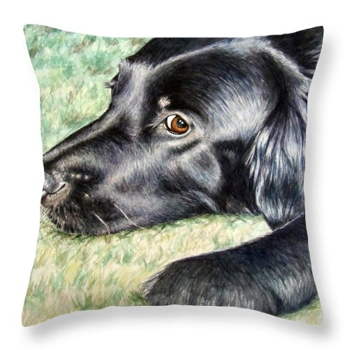 Dog Throw Pillow featuring the painting Flat Coated Retriever by Nicole Zeug