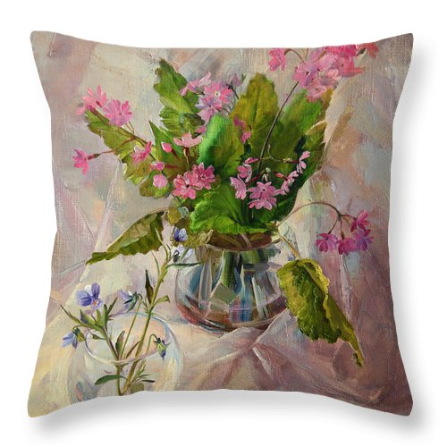 Flowers Throw Pillow featuring the painting Flowers by Galina Gladkaya