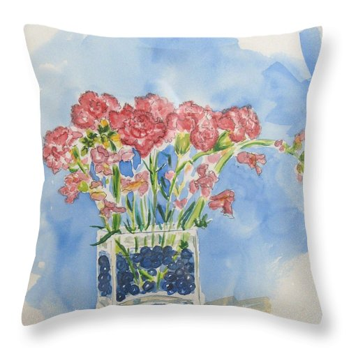 Flowers Throw Pillow featuring the painting Flowers In A Vase by Mary Ellen Mueller Legault