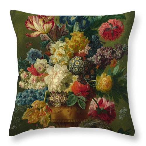Paulus Theodorus Van Brussel Throw Pillow featuring the painting Flowers In A Vase by Paulus Theodorus van Brussel