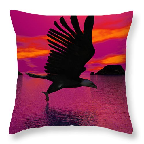 Eagle Throw Pillow featuring the digital art Flying Home by Robert Orinski