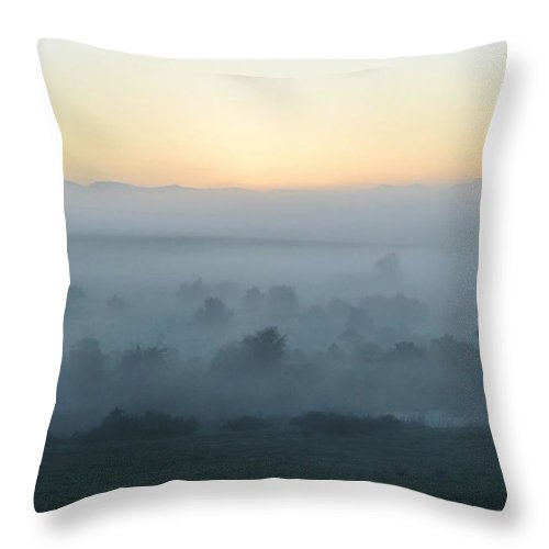 Landscape; Morning; Fog; Farm Land; Trees; Swartland; South Africa; Sunrise; Sky; Light; Background; Decorative; Mountains; Blue; Throw Pillow featuring the photograph Foggy Sunrise... by Werner Lehmann