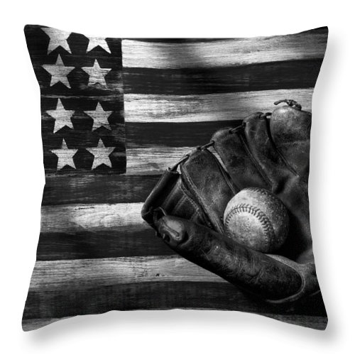 Folk Art American Flag Throw Pillow featuring the photograph Folk Art American Flag And Baseball Mitt Black And White by Garry Gay