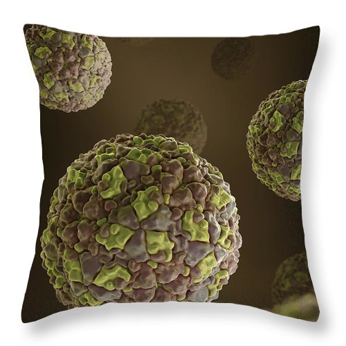 Picornavirus Throw Pillow featuring the photograph Foot-and-mouth Disease Virus by Science Picture Co